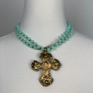 🔥🔥🔥 Brass Cross Necklace with Turquoise Beads